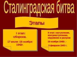 Этапы I этап: оборона. 17 июля -18 ноября 1942г. II этап: наступление, контрн