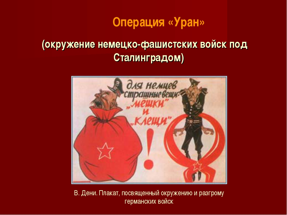 (окружение немецко-фашистских войск под Сталинградом) В. Дени. Плакат, посвящ...