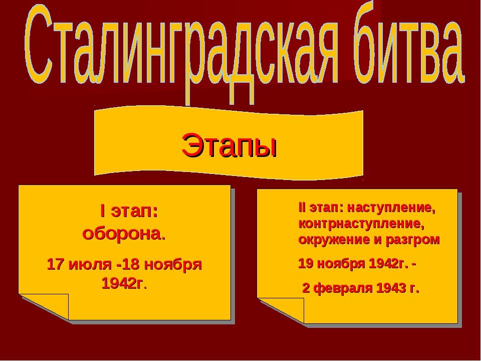 Этапы I этап: оборона. 17 июля -18 ноября 1942г. II этап: наступление, контрн...