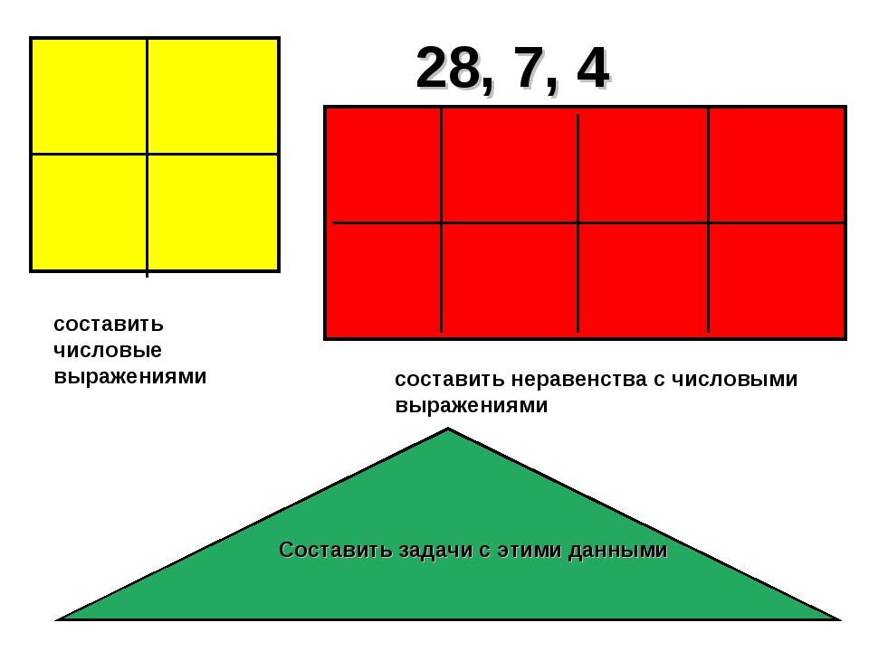 28, 7, 4 составить неравенства с числовыми выражениями составить числовые выр...