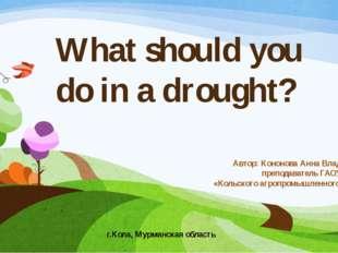 What should you do in a drought? Автор: Кононова Анна Владимировна, преподава