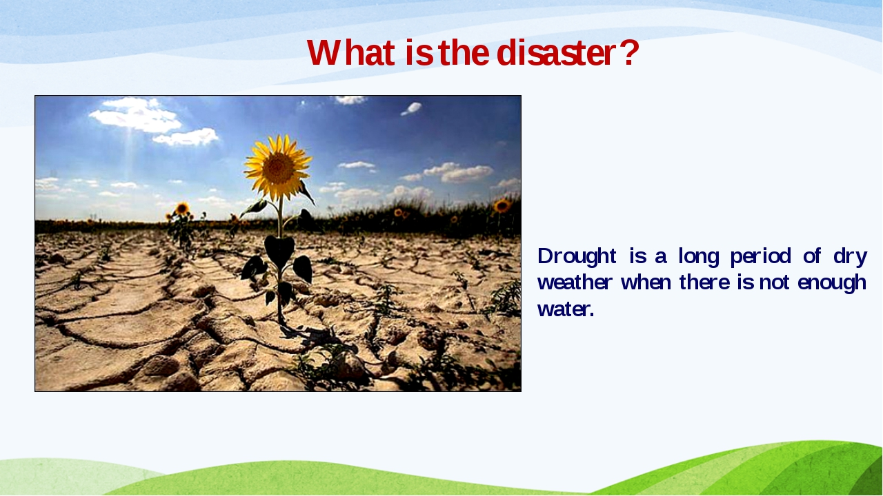 What is the disaster? Drought is a long period of dry weather when there is n...