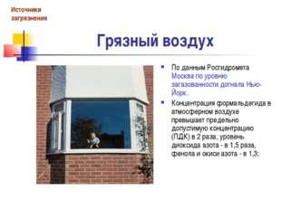 Грязный воздух По данным Росгидромета Москва по уровню загазованности догнала