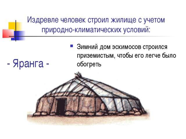 - Яранга - Зимний дом эскимосов строился приземистым, чтобы его легче было об...