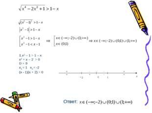 x2 – 1 > 1 – x x2 + x – 2 > 0 D = 9 x1 = 1 x2 = -2 (x - 1)(x + 2) > 0