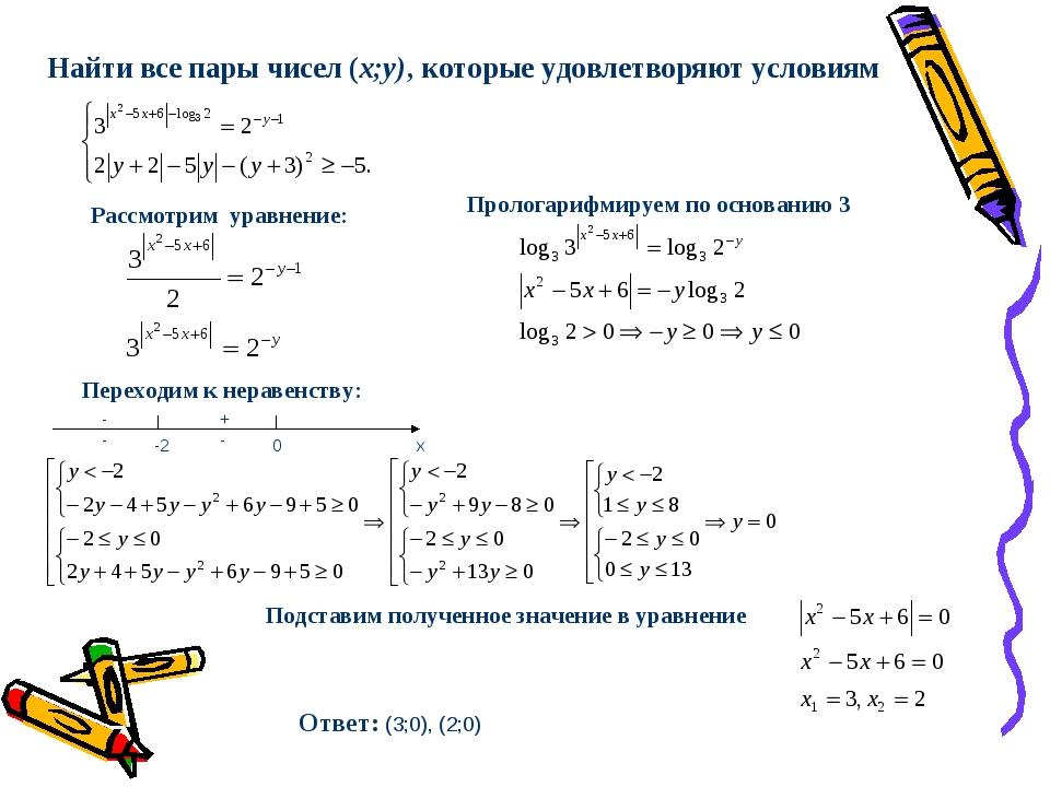 Переходим к неравенству: Подставим полученное значение в уравнение Ответ: (3;...
