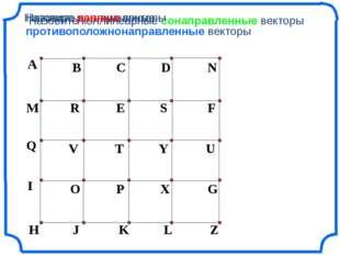 Назовите коллинеарные сонаправленные векторы Назовите коллинеарные противопол
