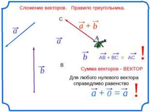 Сложение векторов. Правило треугольника. b А В С ! ! Для любого нулевого век