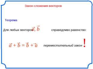 Закон сложения векторов Для любых векторов справедливо равенство: ! Теорема a
