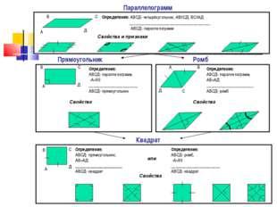 Квадрат Параллелограмм Прямоугольник Ромб А В С Д Определение: АВСД- четырёх