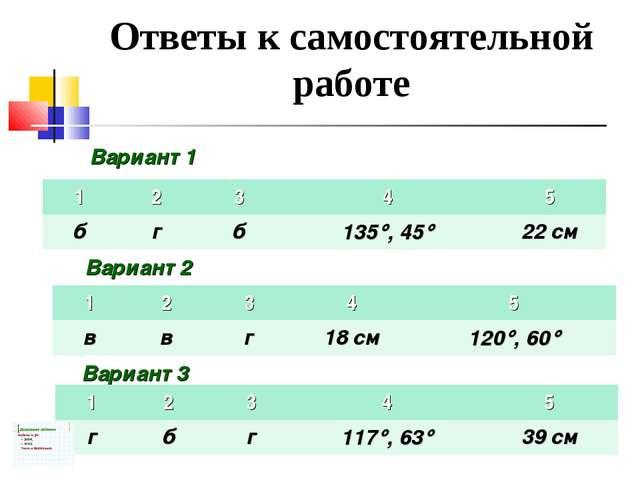 Ответы к самостоятельной работе Вариант 1 Вариант 2 Вариант 3 12345 бгб...