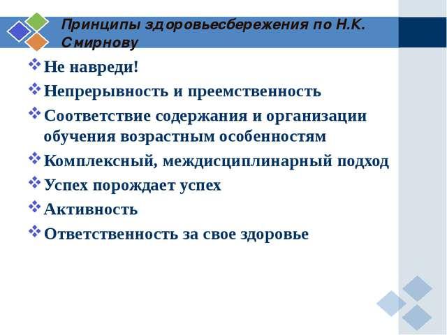 Принципы здоровьесбережения по Н.К. Смирнову Не навреди! Непрерывность и прее...