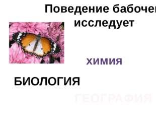 Поведение бабочек исследует химия БИОЛОГИЯ ГЕОГРАФИЯ