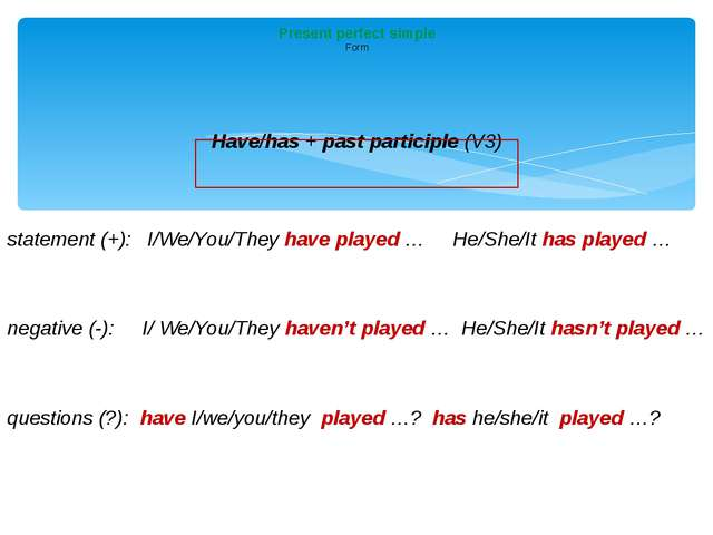 Have/has + past participle (V3) statement (+): I/We/You/They haveplayed …...