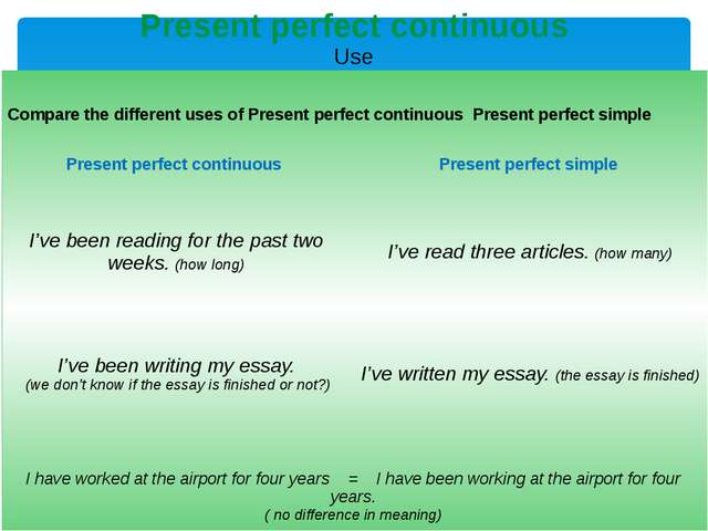 Present perfect continuous Use puts emphasis on the result: Shehas writtenf...