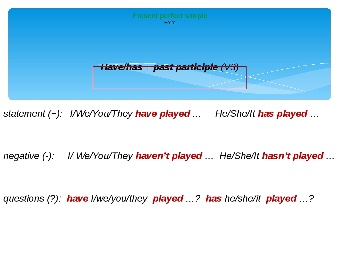 Have/has + past participle (V3) statement (+):  I/We/You/They have played …...