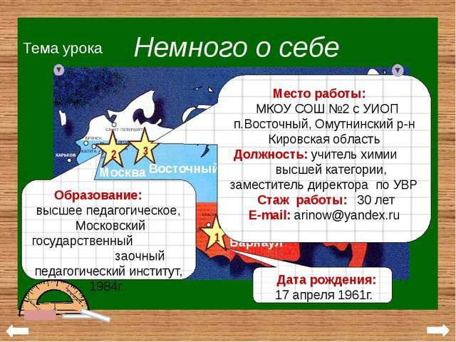 30 лет у школьной доски Аринова Н.И. Немного о себе Мои достижения Мои учени...