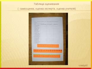 Таблица оценивания ( самооценка, оценка эксперта, оценка учителя) слайд42