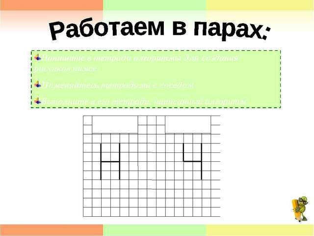 Напишите в тетради алгоритмы для создания рисунков ниже Поменяйтесь тетрадями...