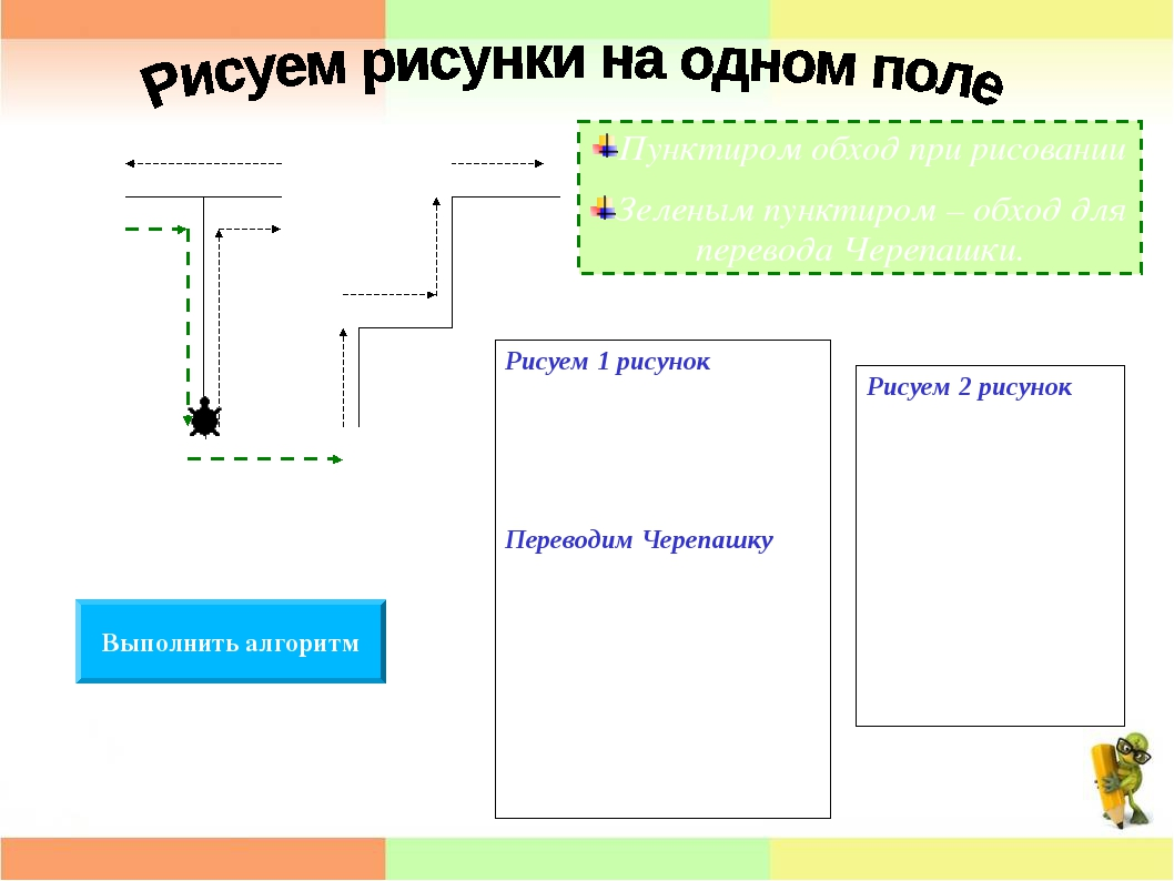 Пунктиром обход при рисовании Зеленым пунктиром – обход для перевода Черепашк...