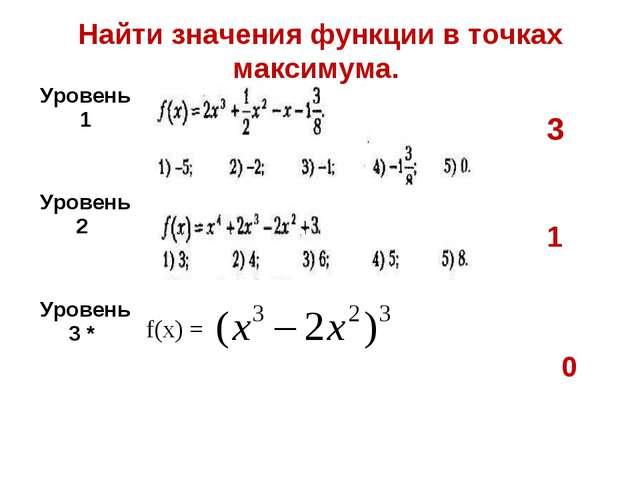 Найти значения функции в точках максимума. 3 1 0 Уровень 1  Уровень 2   У...