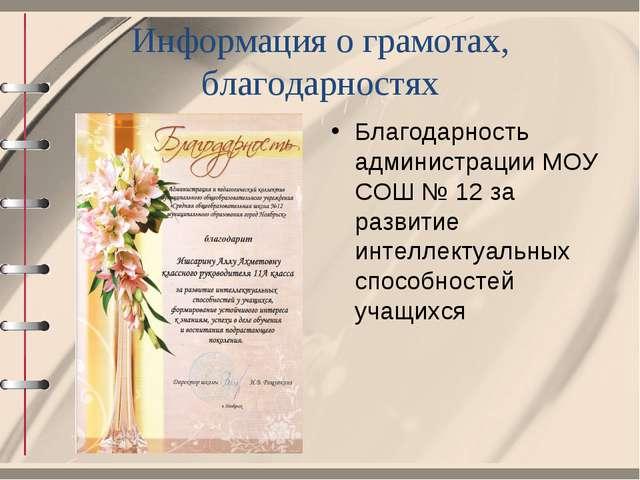 Информация о грамотах, благодарностях Благодарность администрации МОУ СОШ № 1...