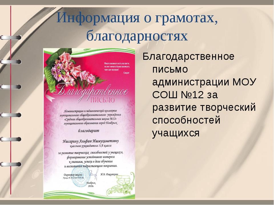 Информация о грамотах, благодарностях Благодарственное письмо администрации М...