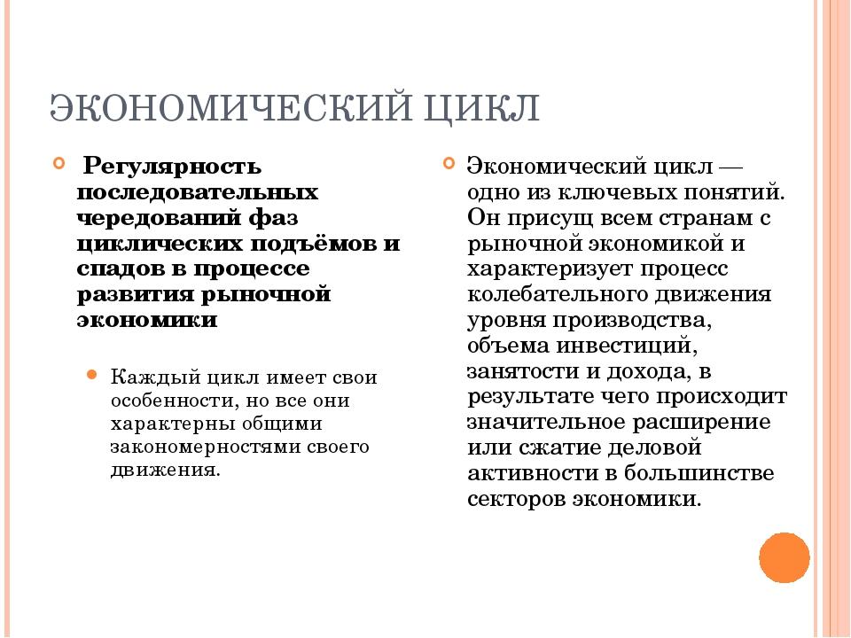 ЭКОНОМИЧЕСКИЙ ЦИКЛ Регулярность последовательных чередований фаз циклических...
