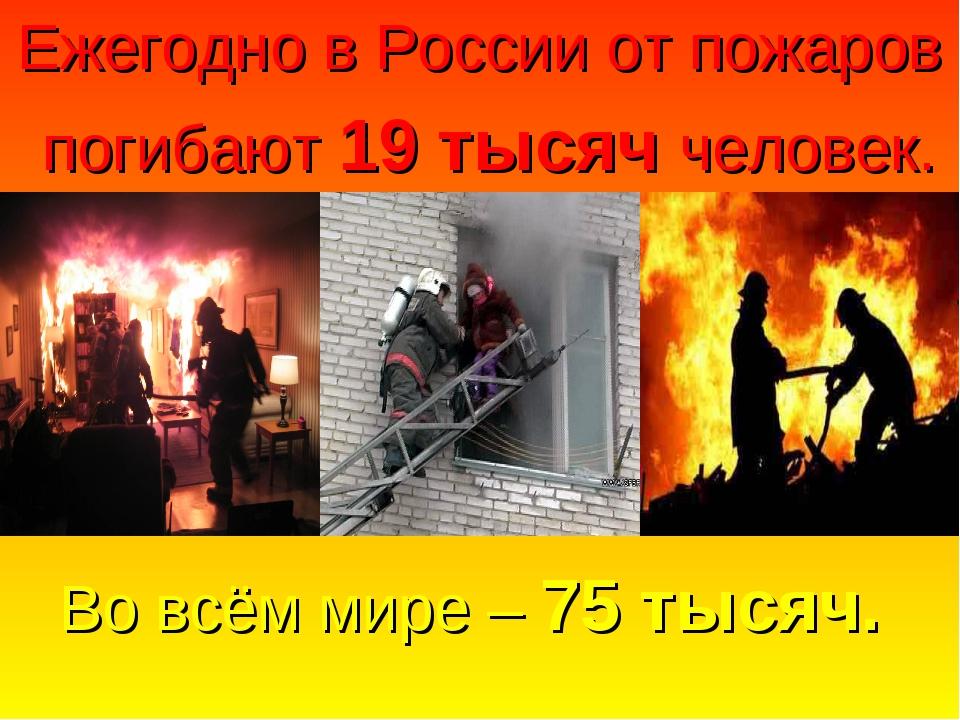 Во всём мире – 75 тысяч. Ежегодно в России от пожаров погибают 19 тысяч челов...
