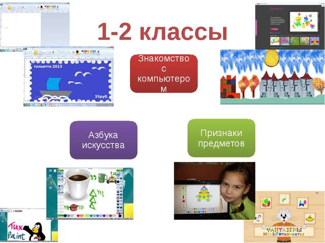 1-2 классы Знакомство с компьютером Признаки предметов Азбука искусства
