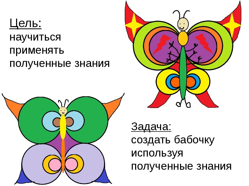 Задача: создать бабочку используя полученные знания Цель: научиться применять...