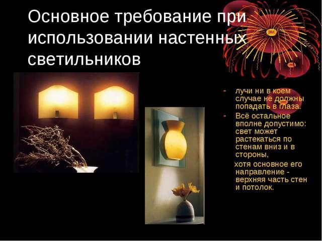 Основное требование при использовании настенных светильников лучи ни в коем с...
