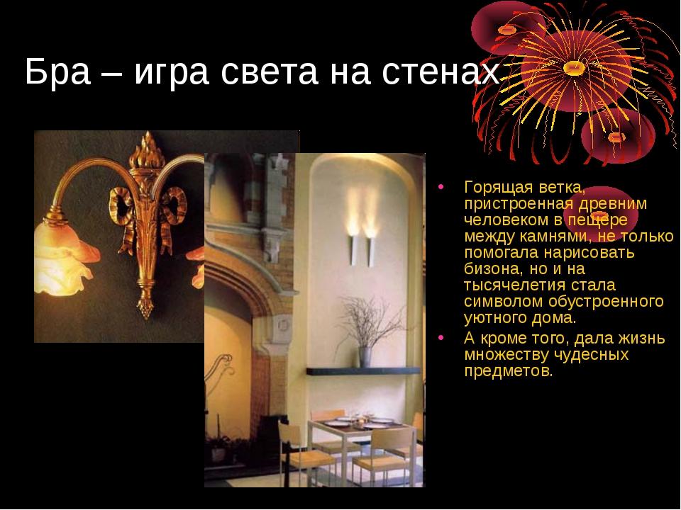 Бра – игра света на стенах Горящая ветка, пристроенная древним человеком в п...