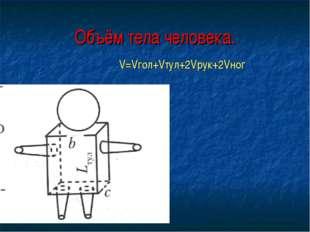 Объём тела человека. V=Vгол+Vтул+2Vрук+2Vног