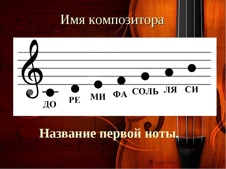 Имя композитора Название первой ноты.