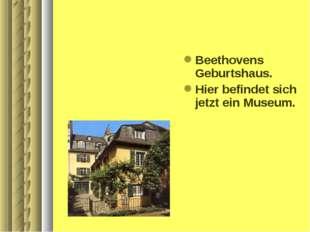 Beethovens Geburtshaus. Hier befindet sich jetzt ein Museum.
