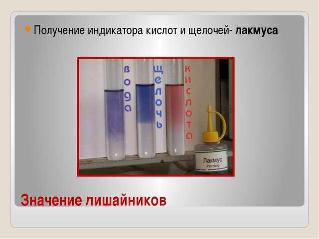 Значение лишайников Получение индикатора кислот и щелочей- лакмуса