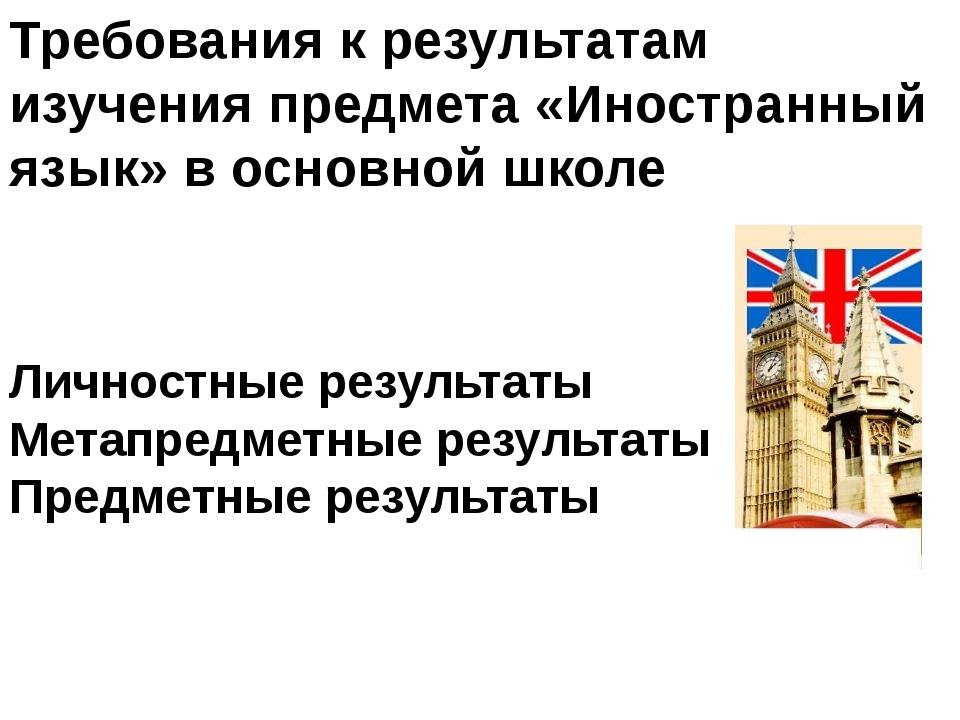 Требования к результатам изучения предмета «Иностранный язык» в основной школ...