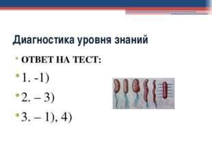 Диагностика уровня знаний ОТВЕТ НА ТЕСТ: 1. -1) 2. – 3) 3. – 1), 4)