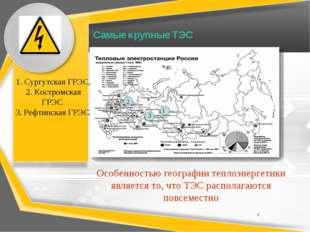 Самые крупные ТЭС 1 2 3 1. Сургутская ГРЭС, 2. Костромская ГРЭС 3. Рефтинская