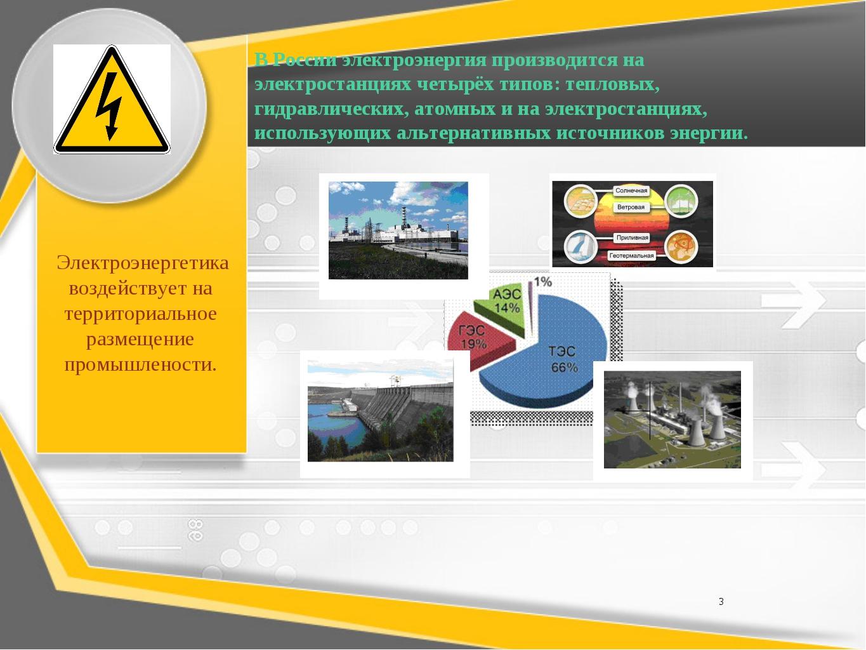 В России электроэнергия производится на электростанцияхчетырёх типов: теплов...