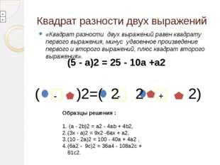 Квадрат разности двух выражений «Квадрат разности двух выражений равен квадра