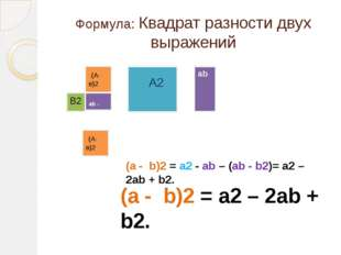 Формула: Квадрат разности двух выражений (А-в)2 А2 ab В2 ab - b2 (А-в)2 (a -