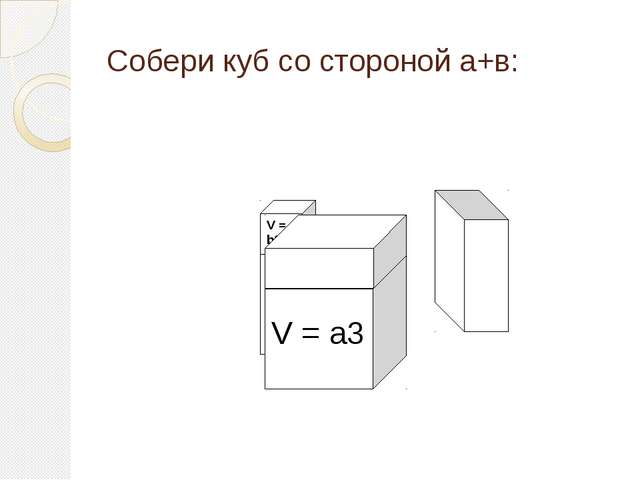 Собери куб со стороной а+в: V = a3 V = b3