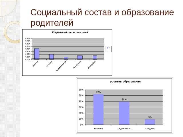 Социальный состав и образование родителей Социальный состав родителей 0,00% 0...