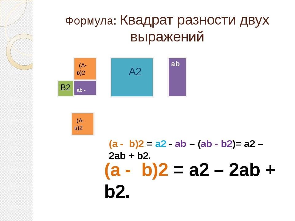 Формула: Квадрат разности двух выражений (А-в)2 А2 ab В2 ab - b2 (А-в)2 (a -...
