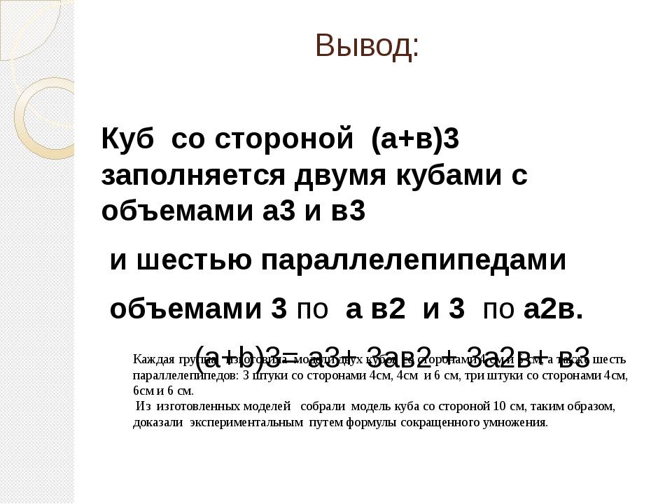 Вывод: Куб со стороной (а+в)3 заполняется двумя кубами с объемами а3 и в3 и ш...