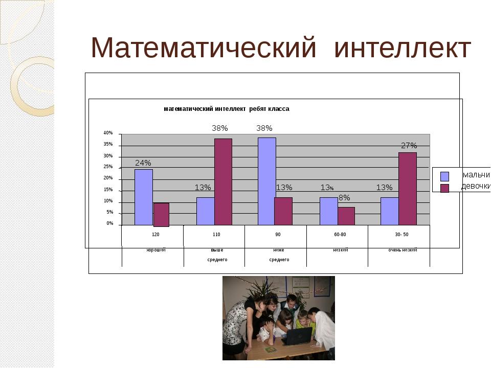 Математический интеллект математический интеллект ребят класса 24% 13% 38% 1...