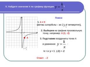 6. Найдите значение k по графику функции ? Поиск: 1. k < 0 (ветви гиперболы –