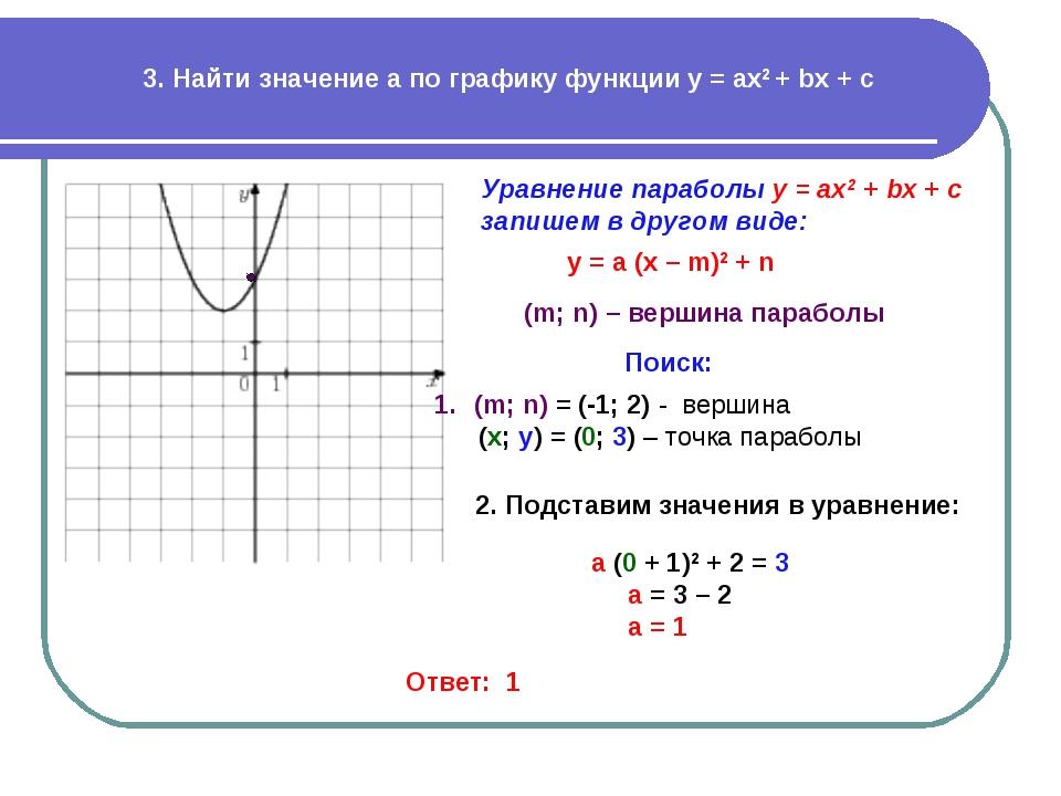 3. Найти значение a по графику функции у = ах2 + bx + c Уравнение параболы у...